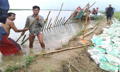 ভেঙে গেছে সুনামগঞ্জের শনির হাওরের বাঁধ