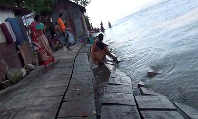 চাঁদপুর শহর রক্ষা বাঁধে ধস, উদাসীন পাউবো