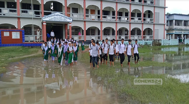 মির্জাপুরে বিদ্যালয় মাঠে জলাবদ্ধতা, শিক্ষার্থীদের দুর্ভোগ