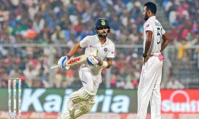 গোলাপি টেস্ট: দিন শেষে ৬৮ রানের লিড ভারতের